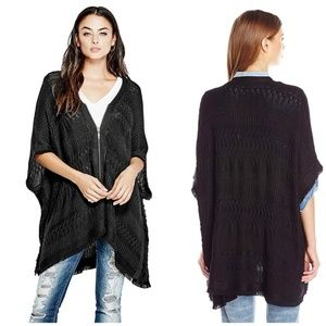 Guess Perforated Fringed  Zip Kimono Poncho HK
